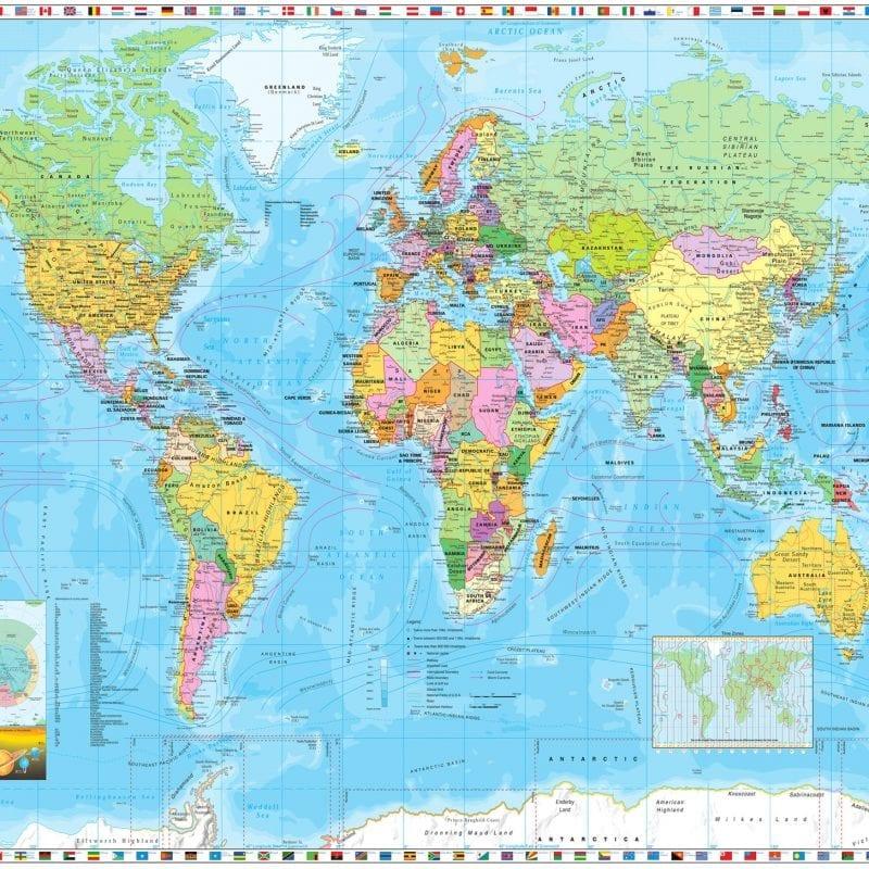 Fotomural Mapa y banderas 4055 Komar