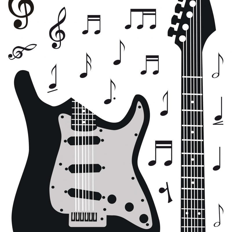 Wallsticker Guitarra negra 1572-1 Decolife - Muresco