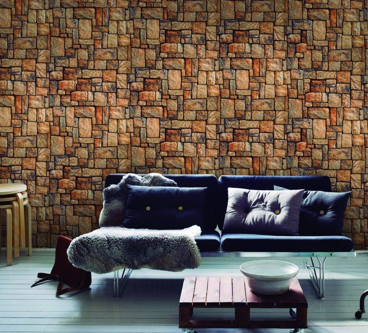 Papel mural piedra adoquin 3470-1 Muresco
