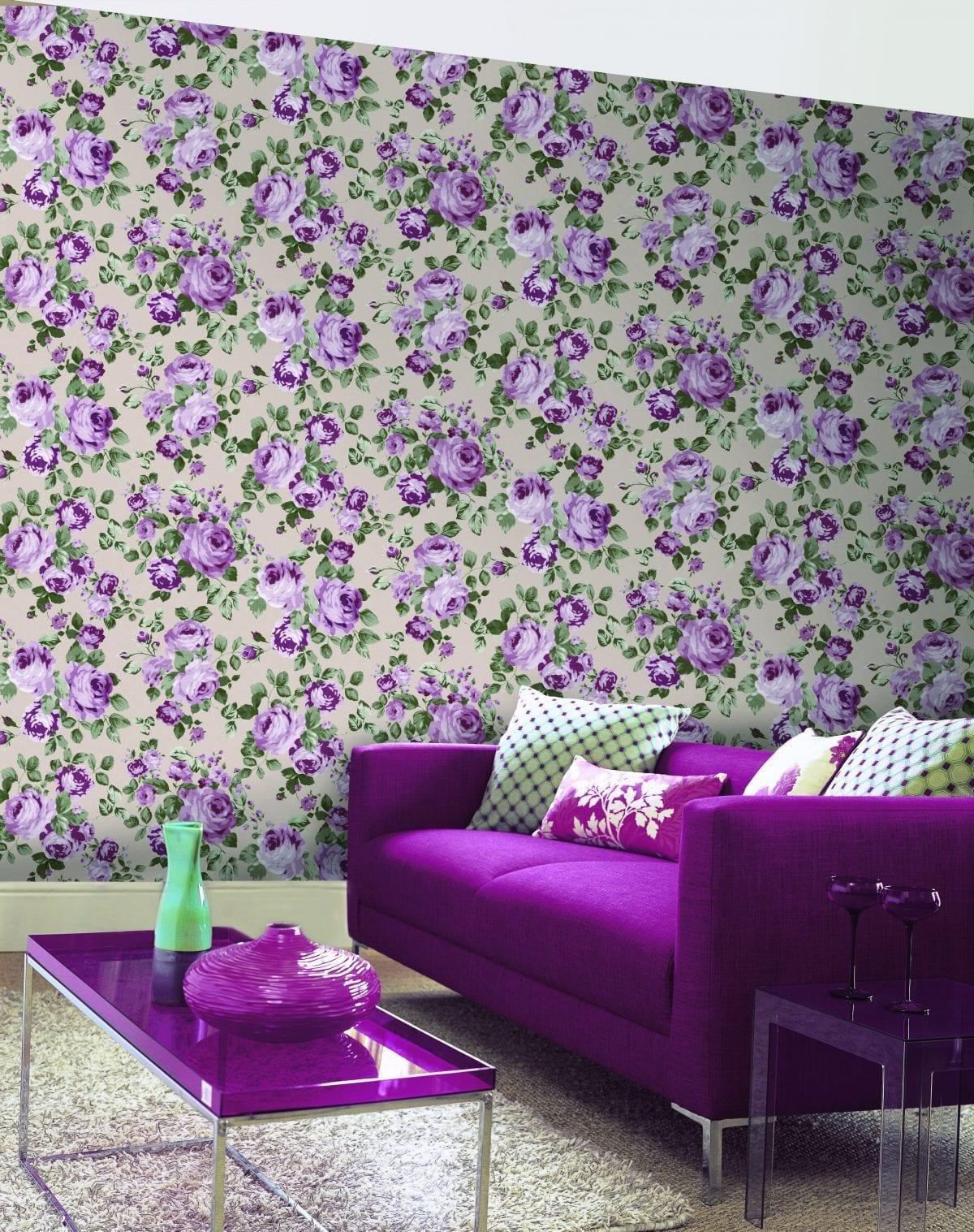 Papel mural en oferta flores moradas URBAN 4703-2 Muresco