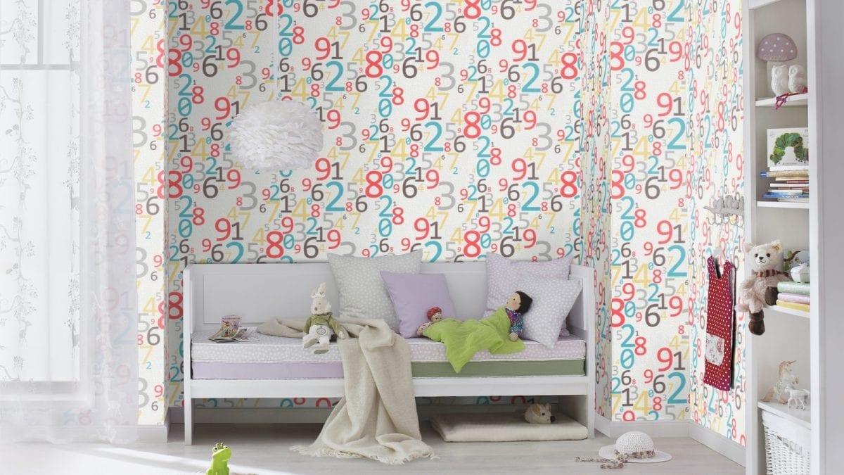 Papel mural números de color HOMEVISION 857818 RASCH