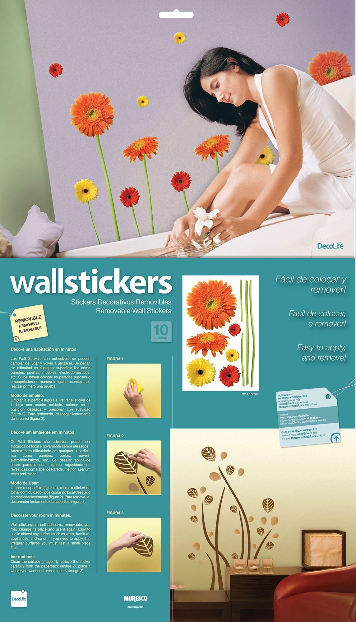 Wallsticker diseño de flores gerbera 1551