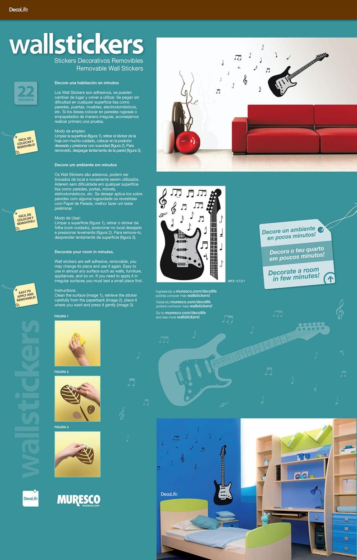 Wallsticker Guitarra y notas musicales negra 1572