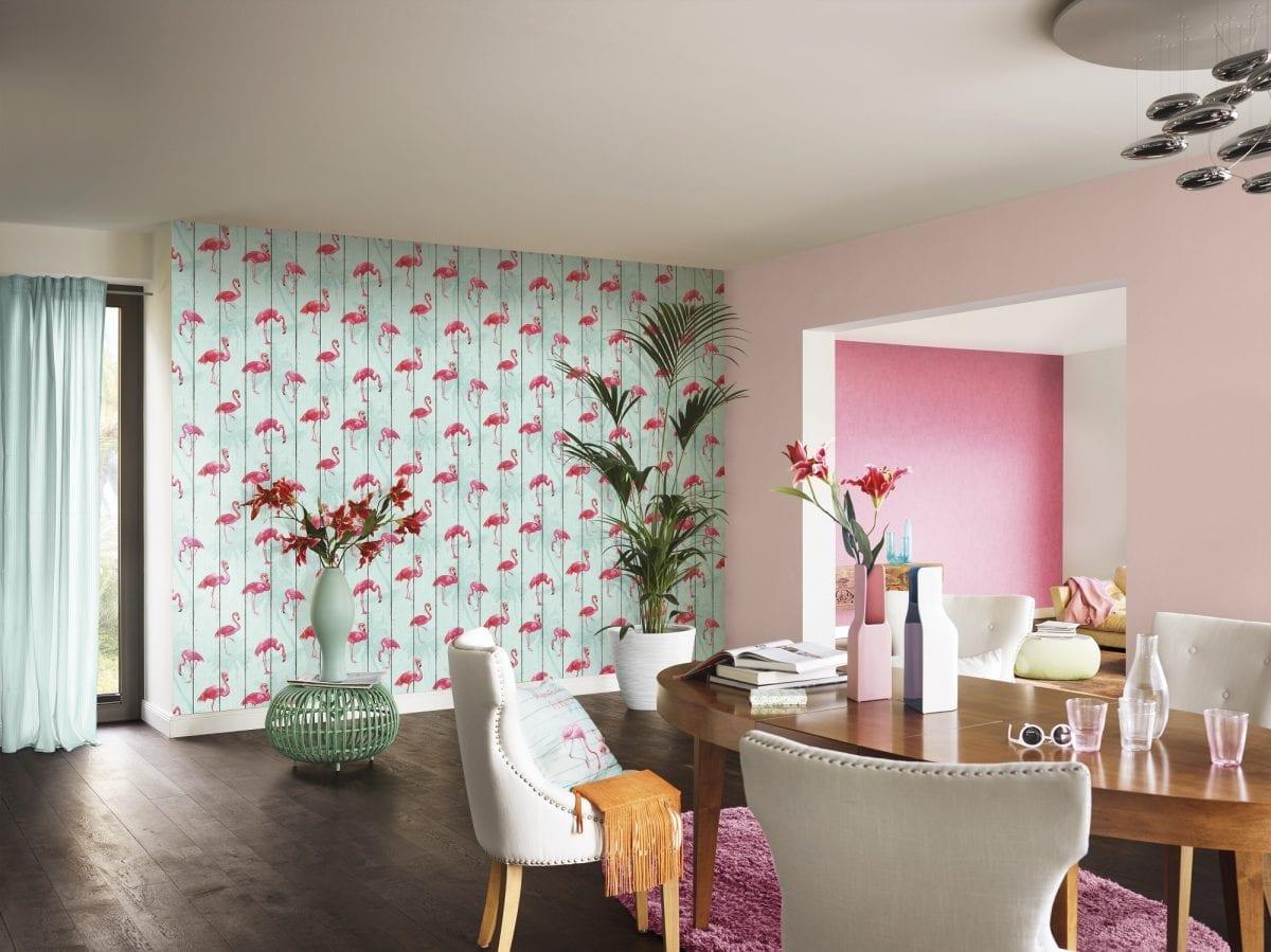 Papel mural flamencos flamingos CRISPY PAPER 479706 Rasch