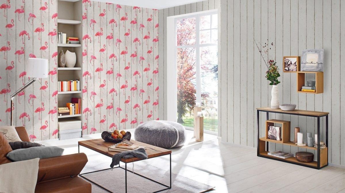 Papel mural flamencos flamingos CRISPY PAPER 479720 Rasch