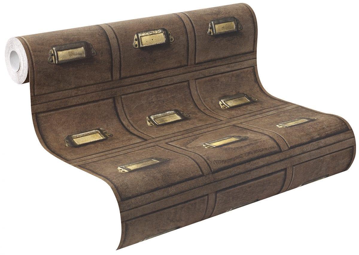 Papel mural cajones de madera de escritorio CRISPY PAPER 524024 Rasch