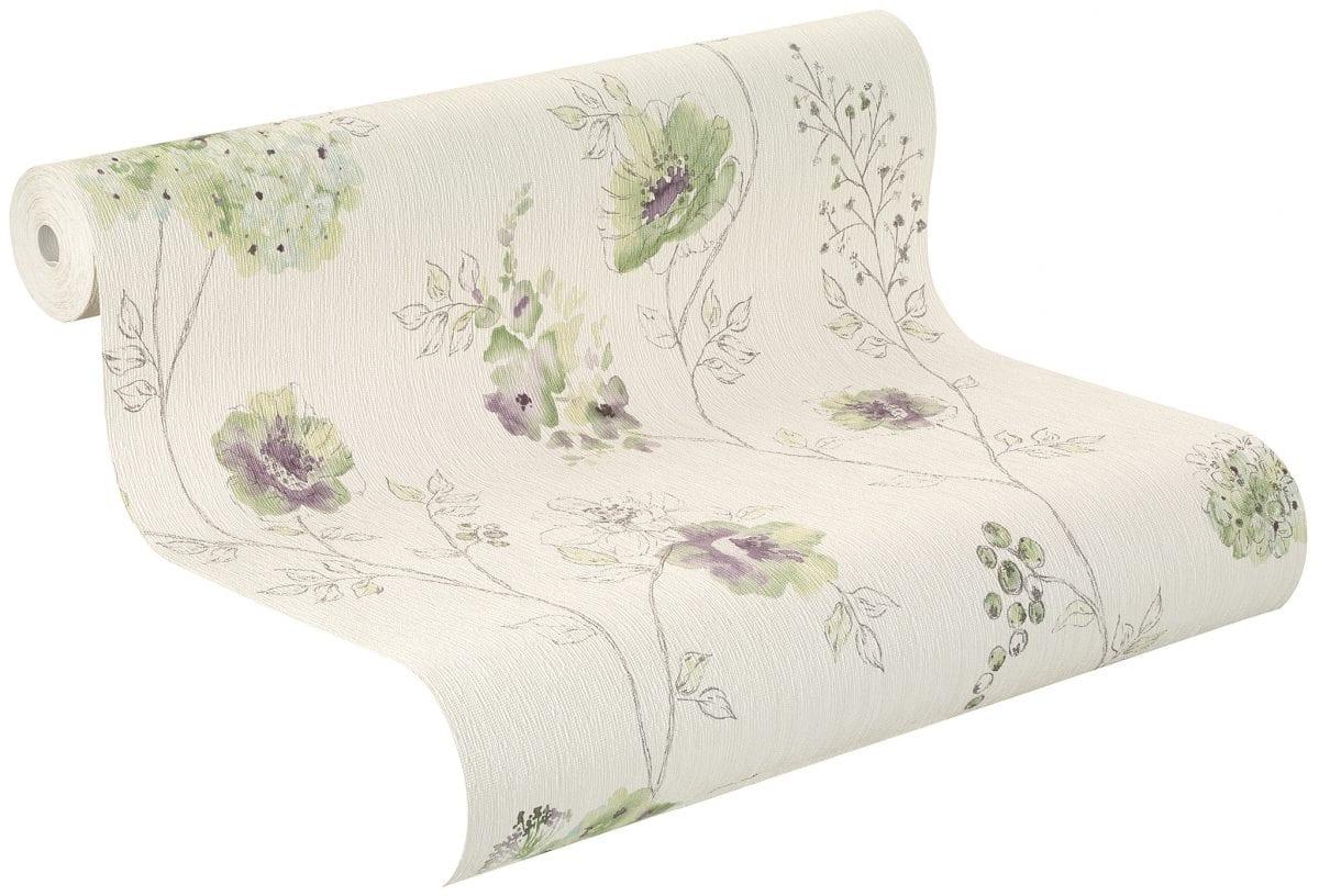 Papel mural flores verde y morada CRISPY PAPER 573473 Rasch