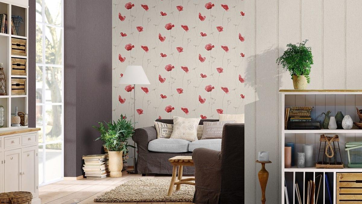 Papel mural Flores rojas CRISPY PAPER 573732 Rasch