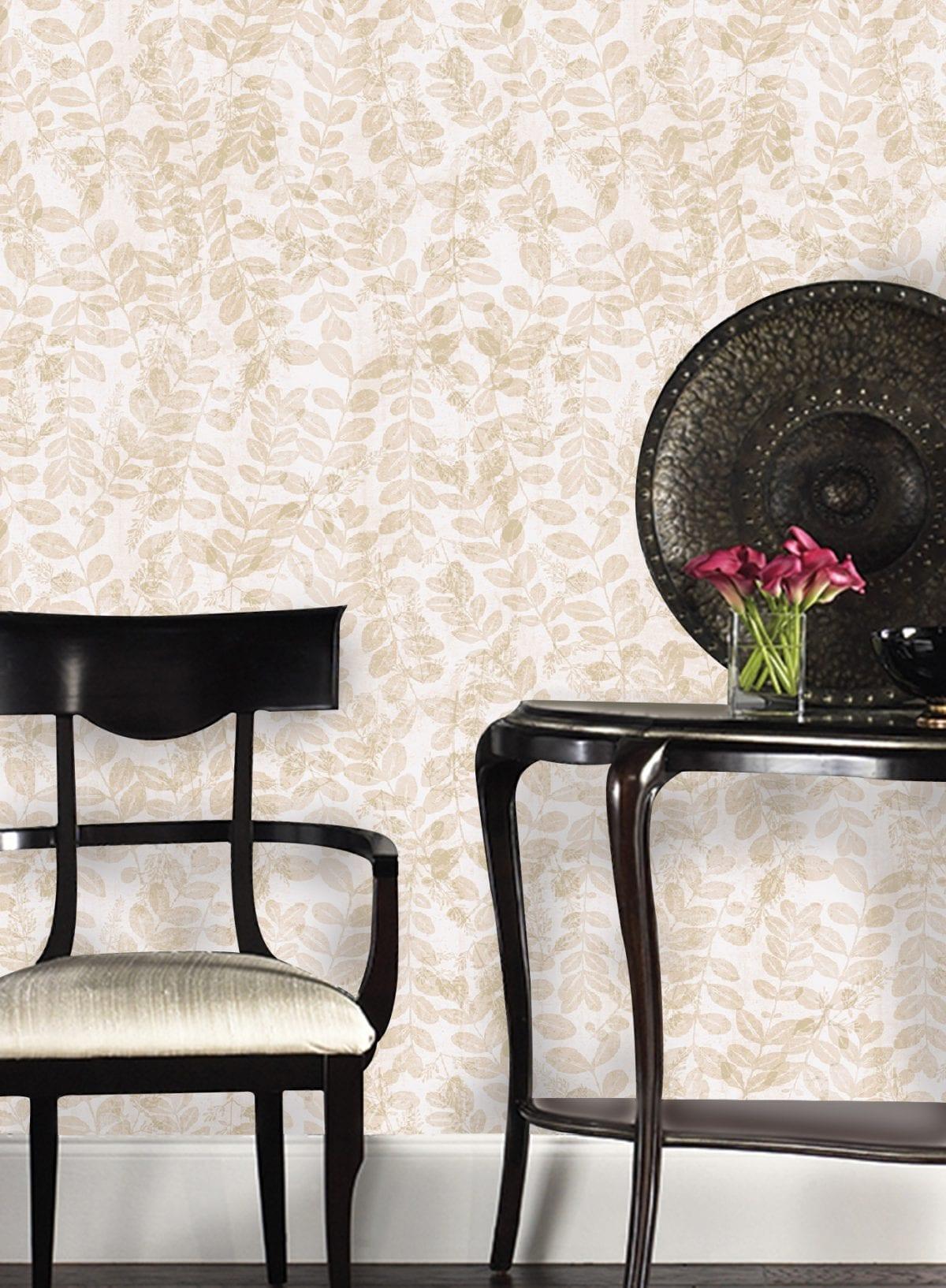 Papel mural hojas beige 3711-1 Muresco