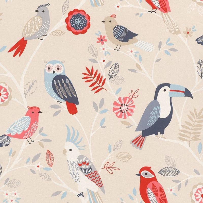 Papel mural pájaros infantil 293005