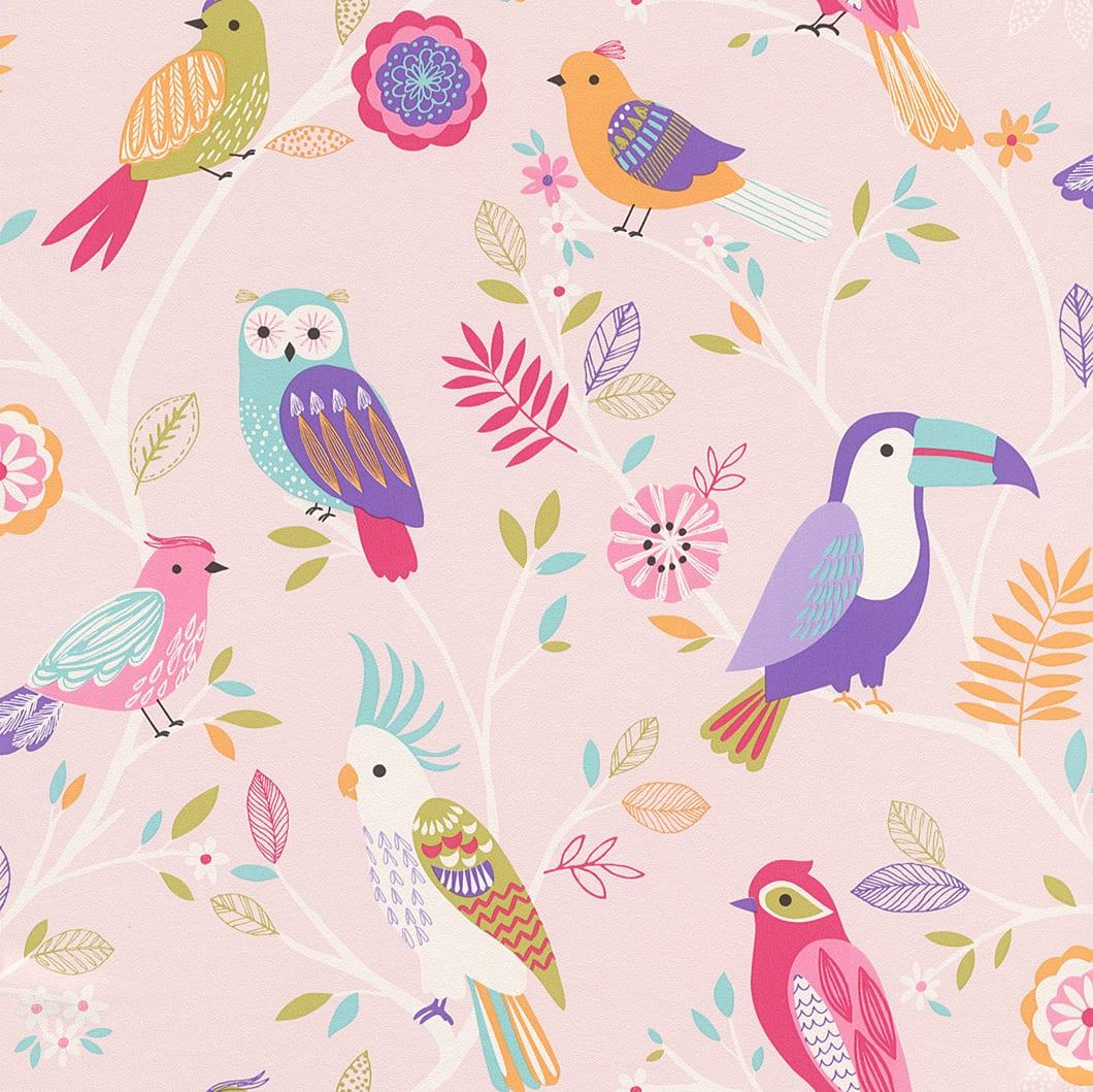 Papel mural pájaros infantil 293012