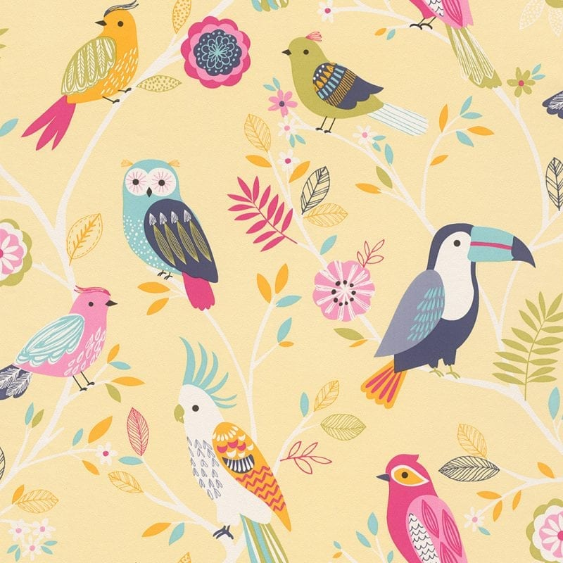 Papel mural pájaros infantil 293029