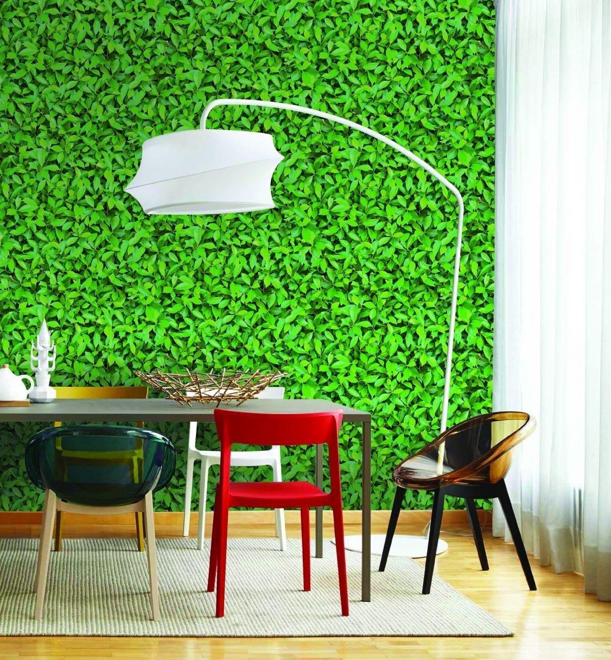 Papel mural muro verde hojas 3480-1 Muresco