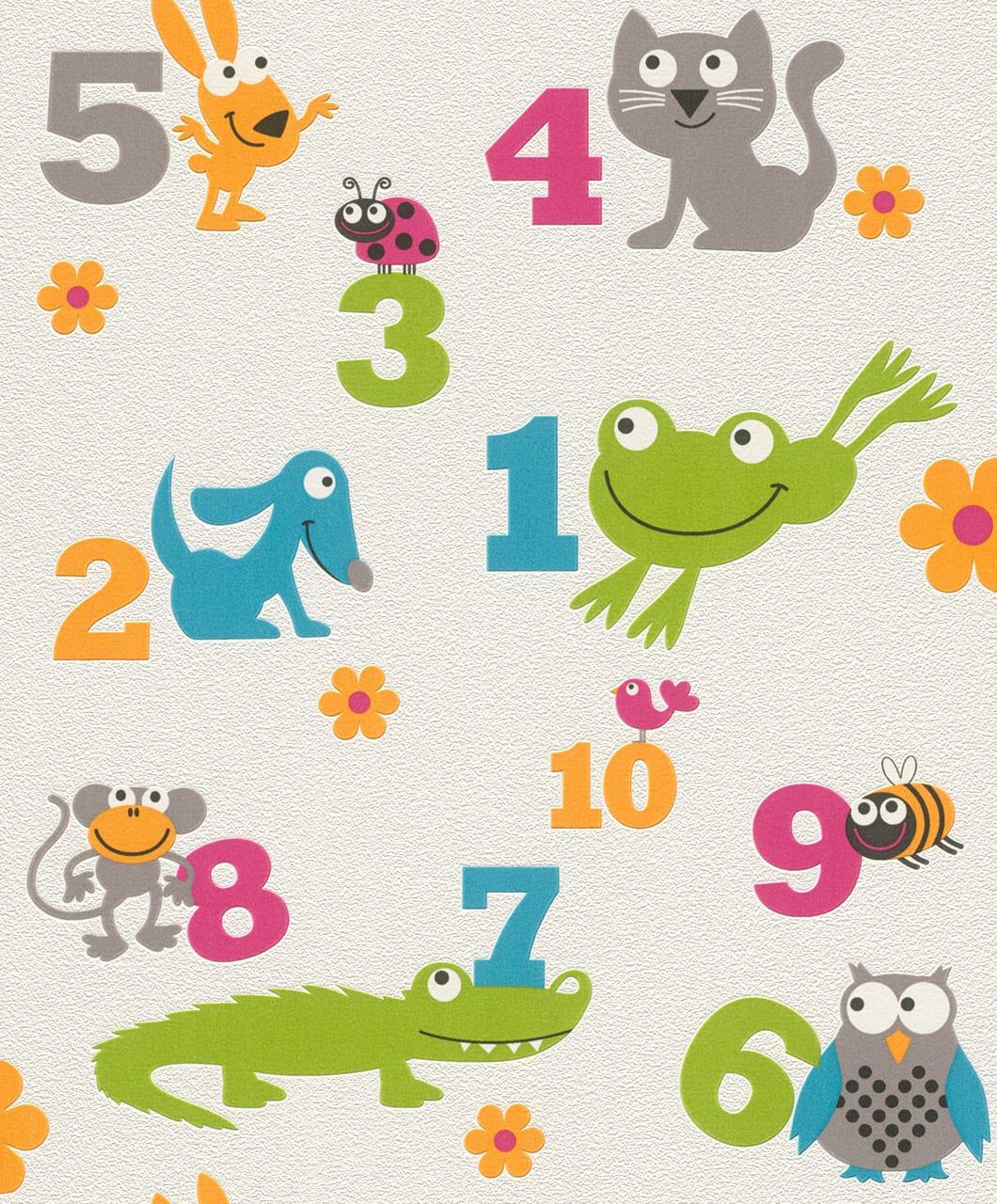 Papel mural numeros y animales 503050