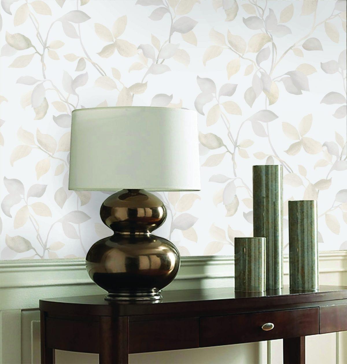 Papel mural hojas beige 7301-2 Muresco