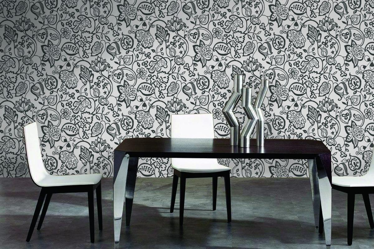 Papel mural flores negras 7308-1 Muresco
