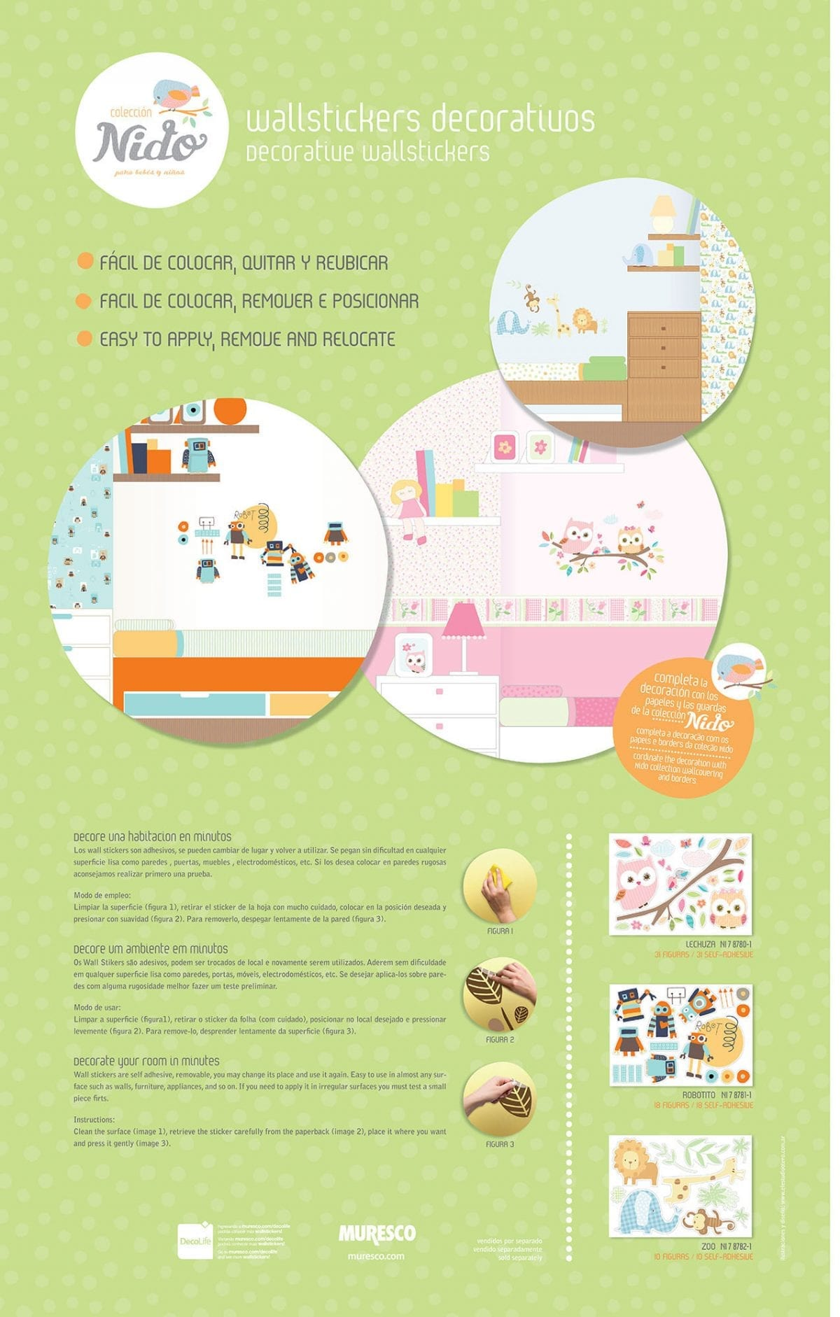 Wallsticker infantil de animales 8782