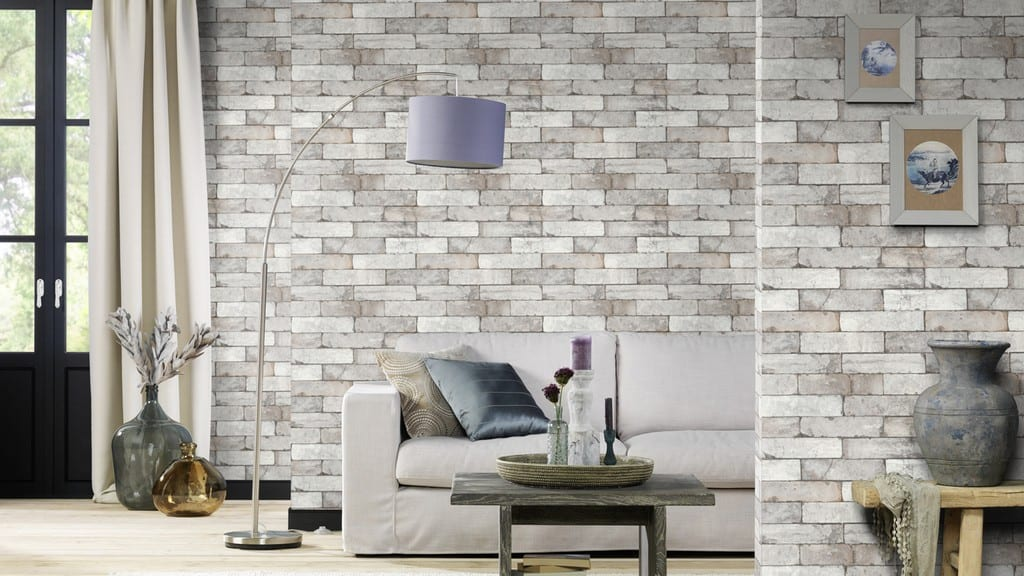 Papel mural Ladrillo gris FACTORY 446302 Rasch