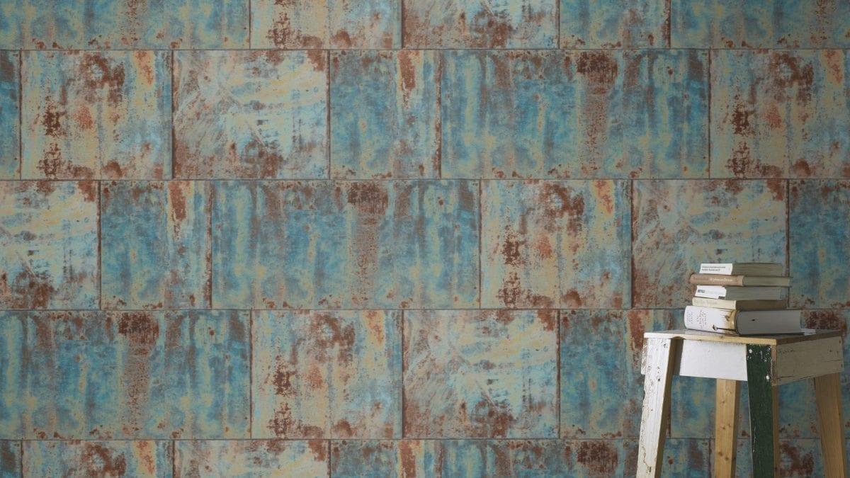 Papel mural bloques de piedra turquesa FACTORY 939712 Rasch