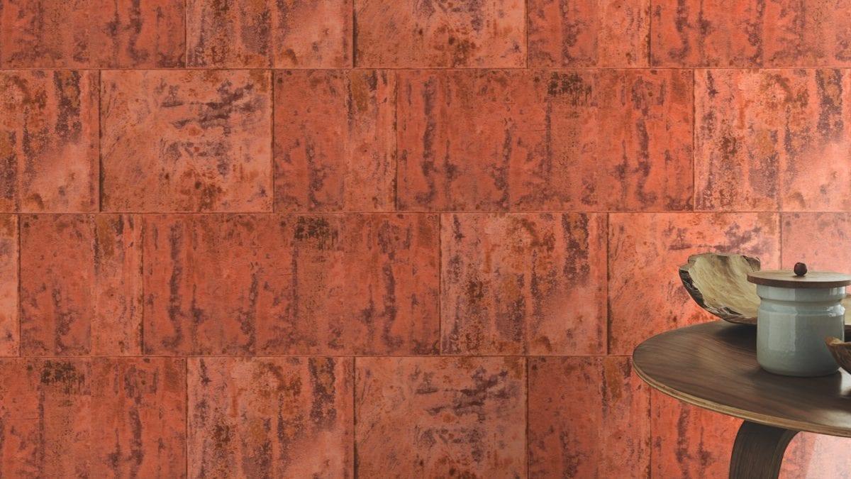 Papel mural bloques de piedra cobre FACTORY 939736 Rasch