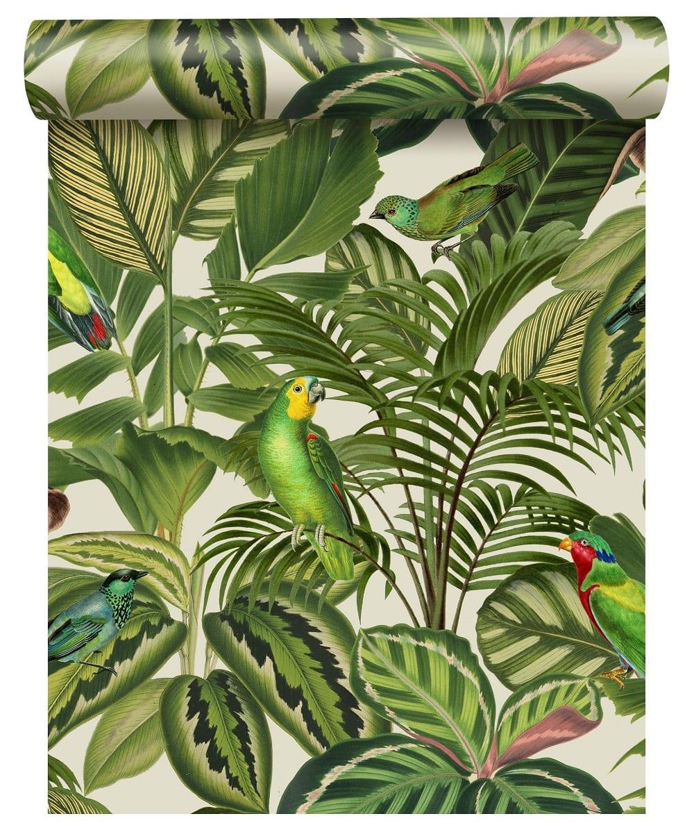 Papel mural hojas verdes y pájaros 439533 - Rasch