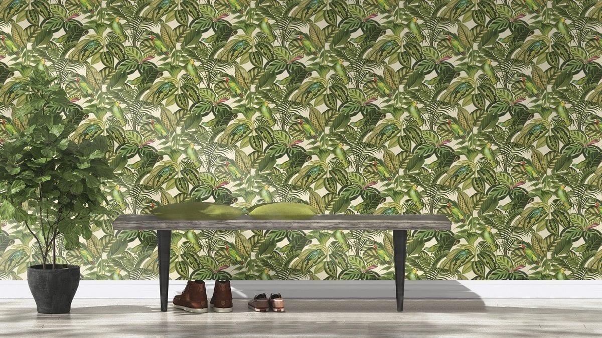 Papel mural hojas y pájaros 439533 - Rasch