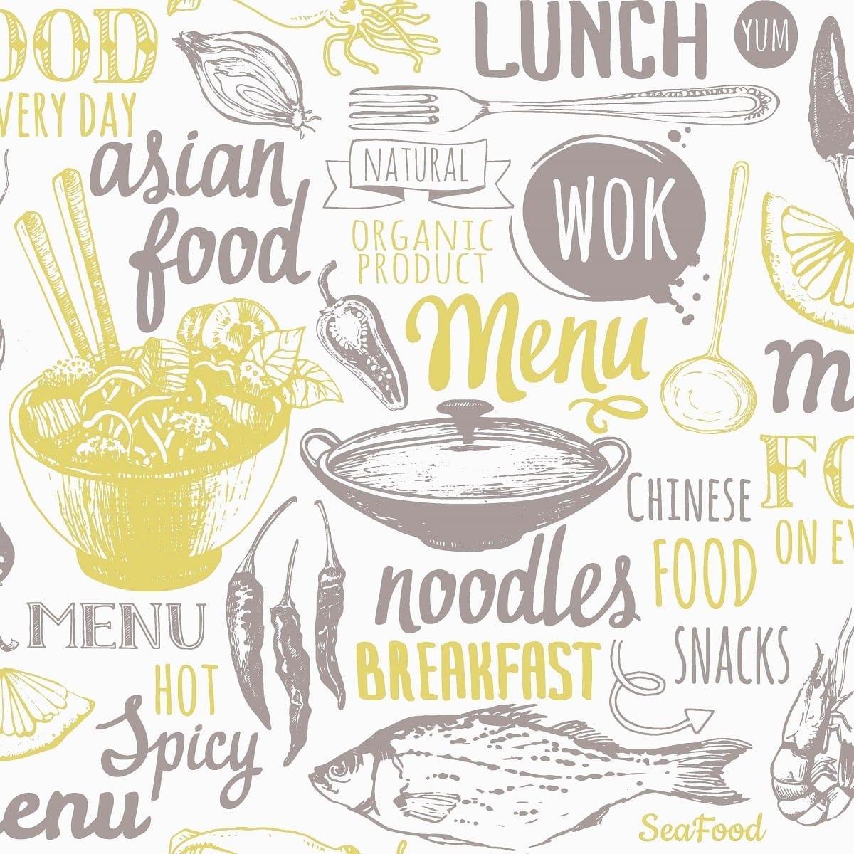 Papel mural cocina wok 3724 -1 - Muresco
