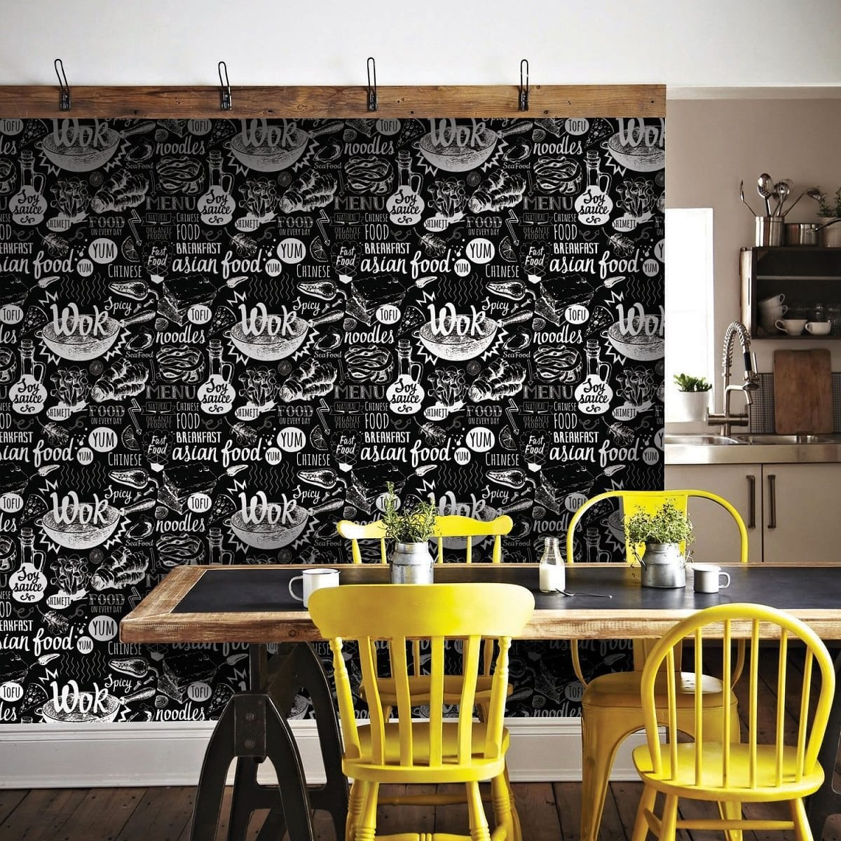 Papel mural cocina wok negro 8308-1 - Muresco