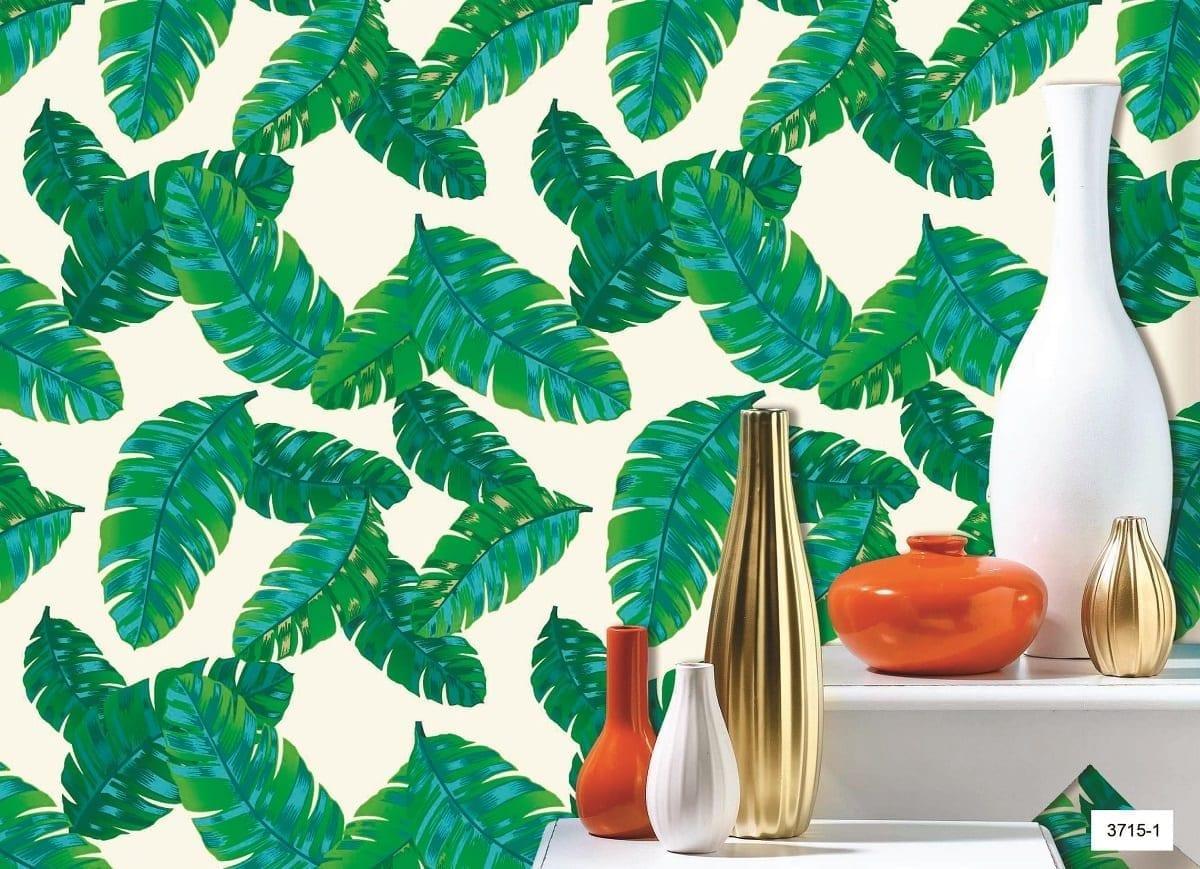 papel mural hojas verdes 3715-1 Muresco