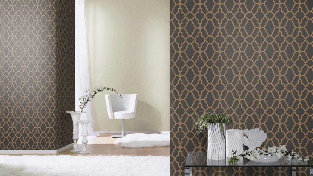 Papel mural calado marroquí negro y cobre dorado HYDE PARK 309331 RASCH