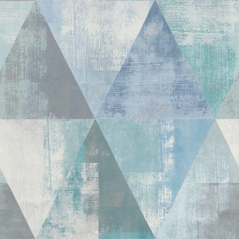 Papel mural triángulos azul y calipso HYDE PARK 410907 RASCH