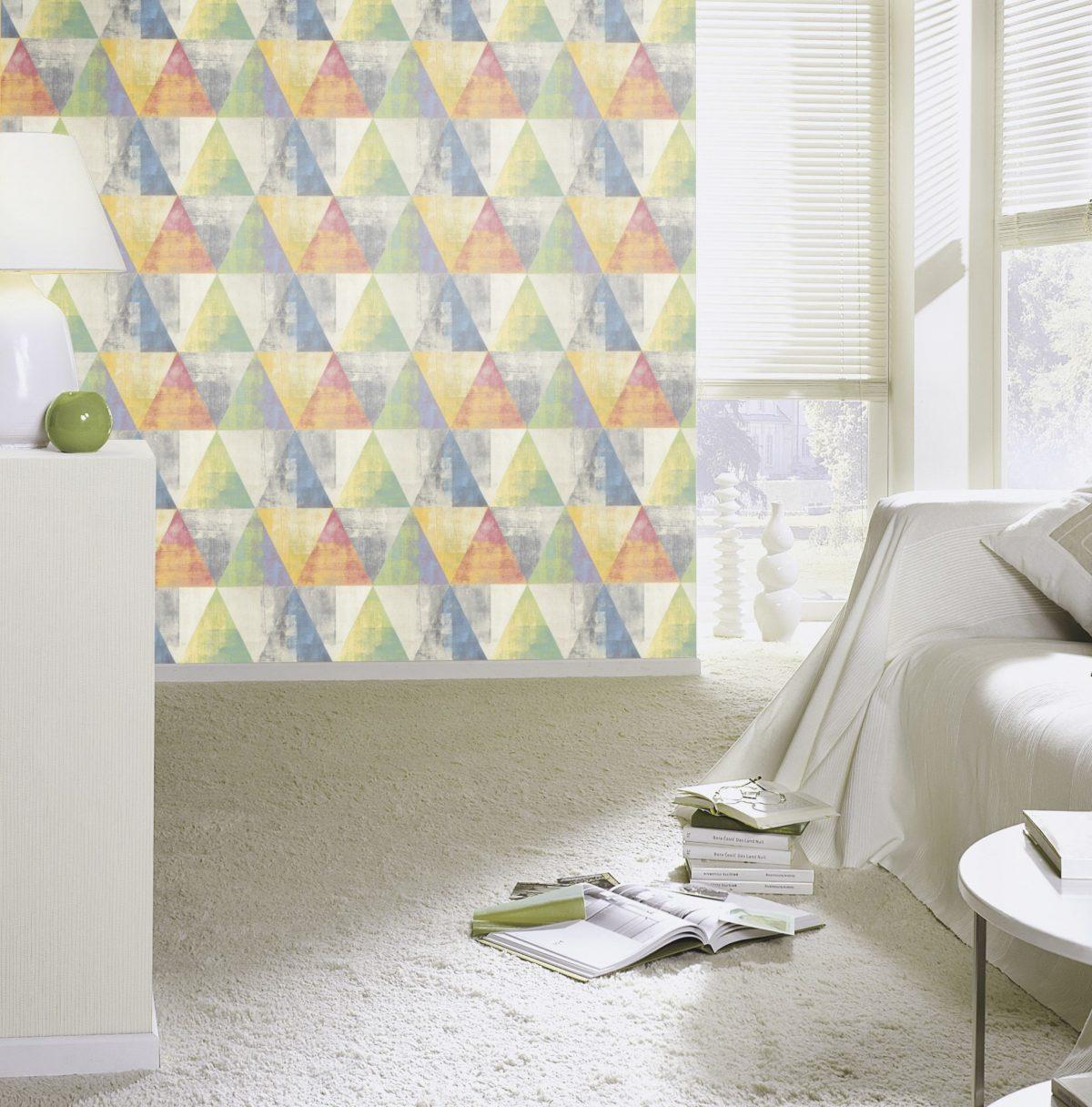 Papel mural triángulos multicolor HYDE PARK 410914 RASCH