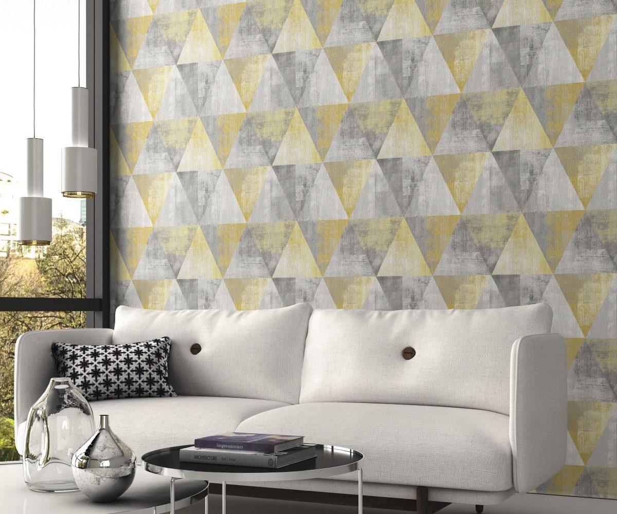 Papel mural triángulos amarillo y gris HYDE PARK 410921 RASCH