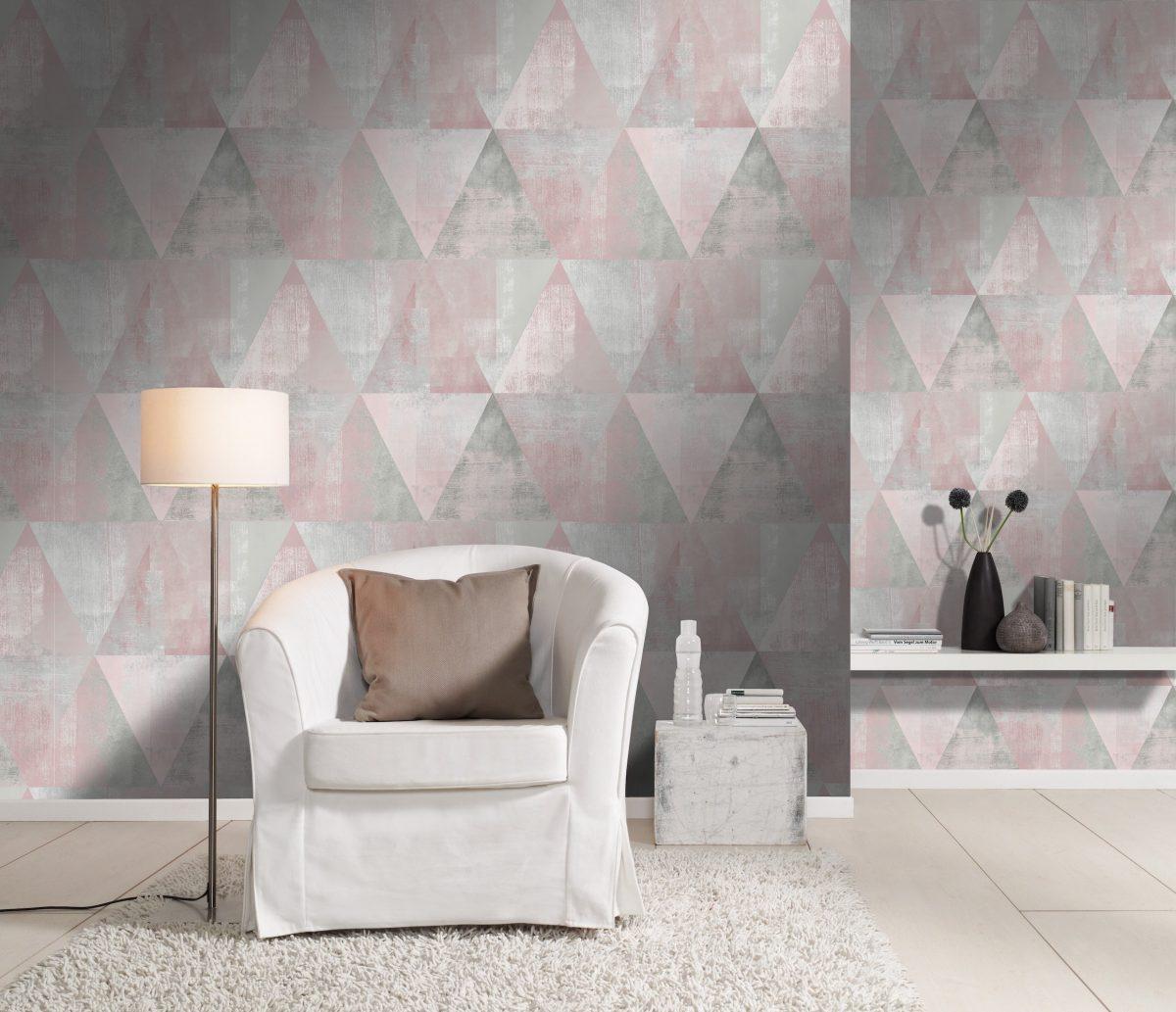 Papel mural triángulos rosado y gris HYDE PARK 410938 RASCH