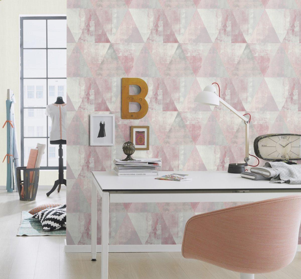 apel mural triángulos rosado y gris HYDE PARK 410938 RASCH