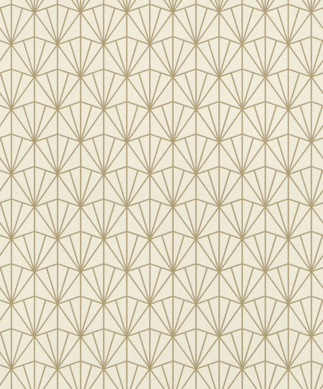 Papel mural con diseño geométrico dorado HYDE PARK 434019 RASCH