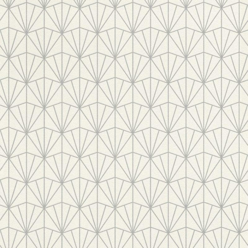 Papel mural con diseño geometrico plateado HYDE PARK 434064 RASCH