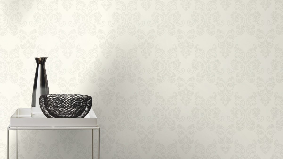 Papel mural blanco y medallon de brillos HYDE PARK 503821 RASCH