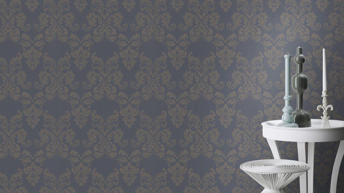 Papel mural gris y medallon brillos HYDE PARK 503845 RASCH