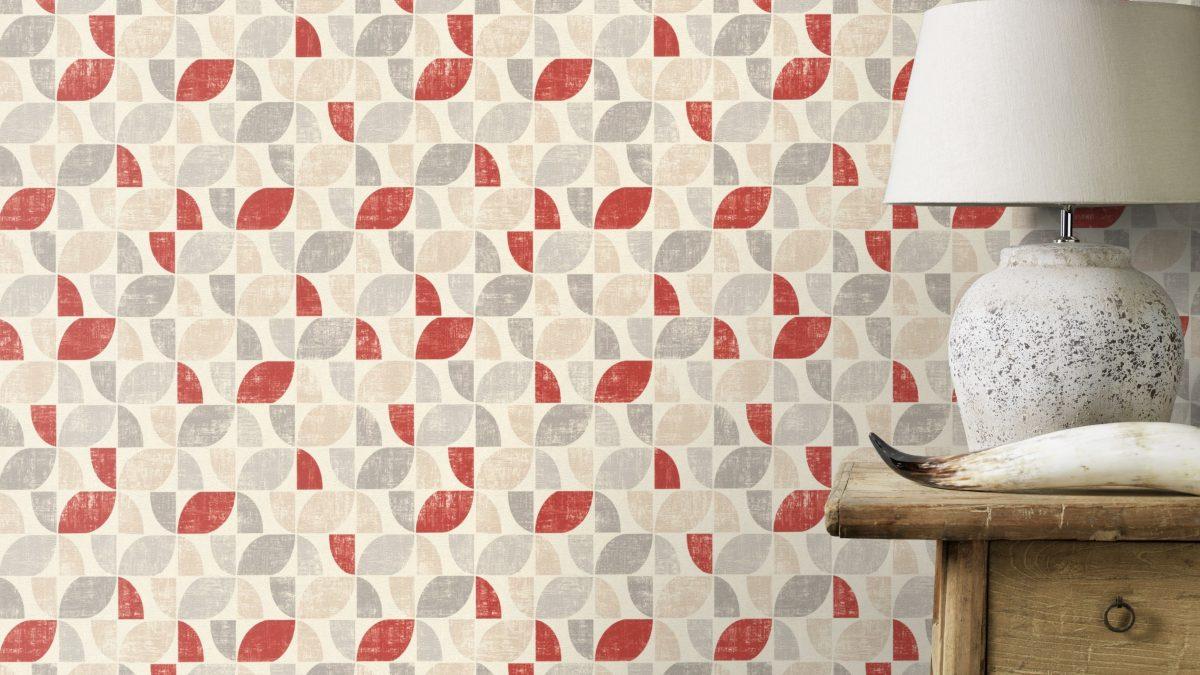 Papel mural multicolor rojo y gris HYDE PARK 519822 RASCH