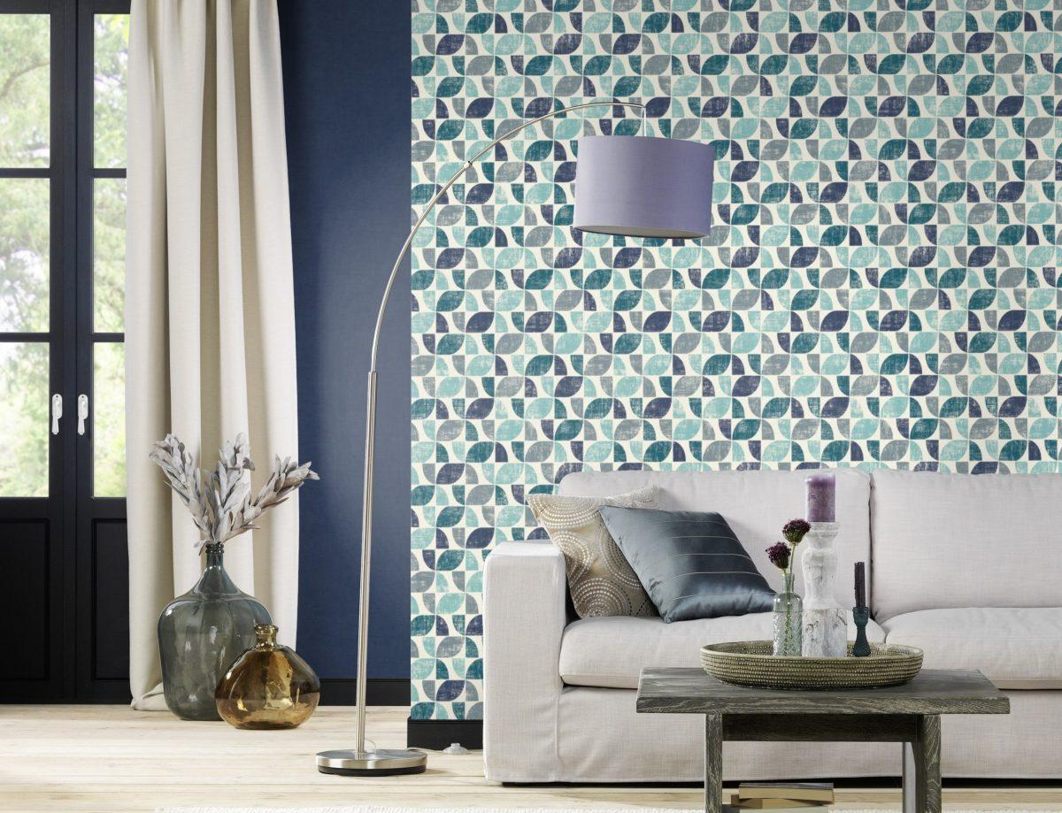 Papel mural multicolor azul y calipso HYDE PARK 519839 RASCH