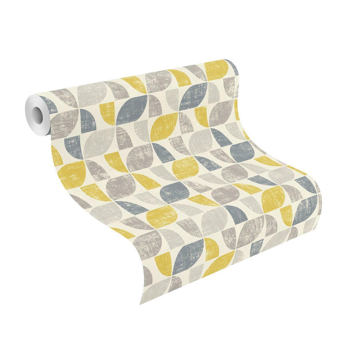 Papel mural diseño multicolor gris amarillo HYDE PARK 519846 RASCH