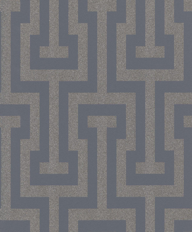 Papel mural geometrico glitter gris dorado HYDE PARK 523928 RASCH