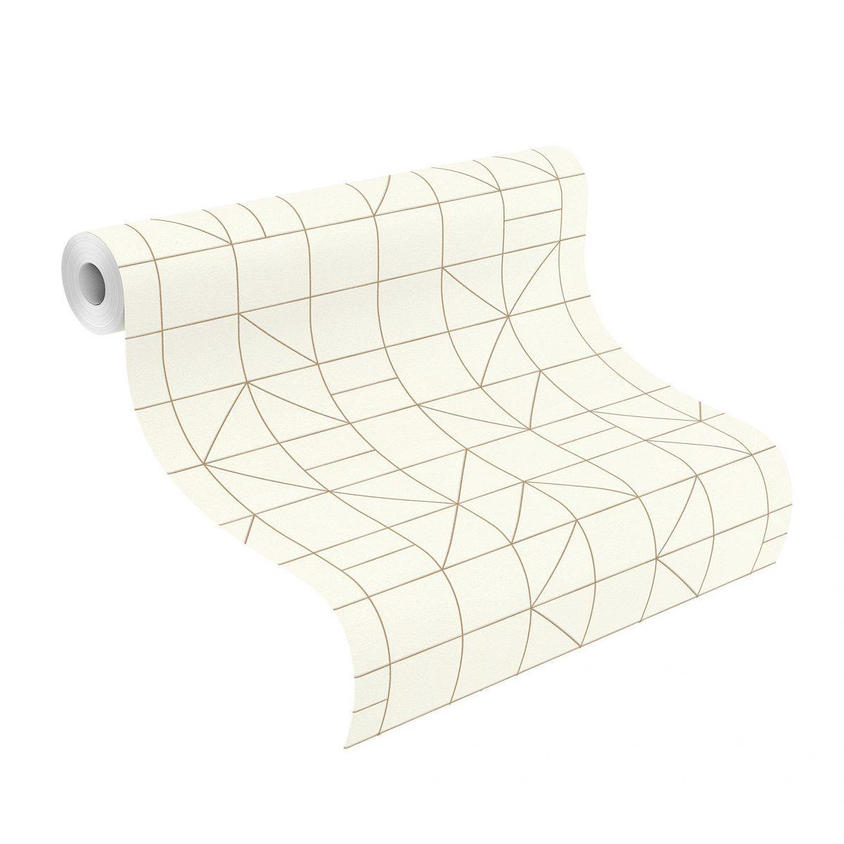 Papel mural geometrico dorado HYDE PARK 610727 RASCH