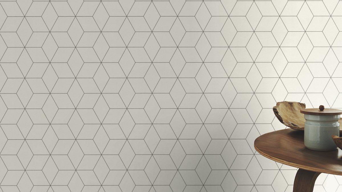 Papel mural blanco con diseños geometricos negros HYDE PARK 624304 RASCH
