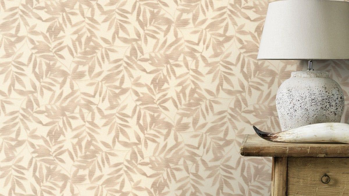 Papel mural hojas bambu beige YUCATAN 406306 Rasch