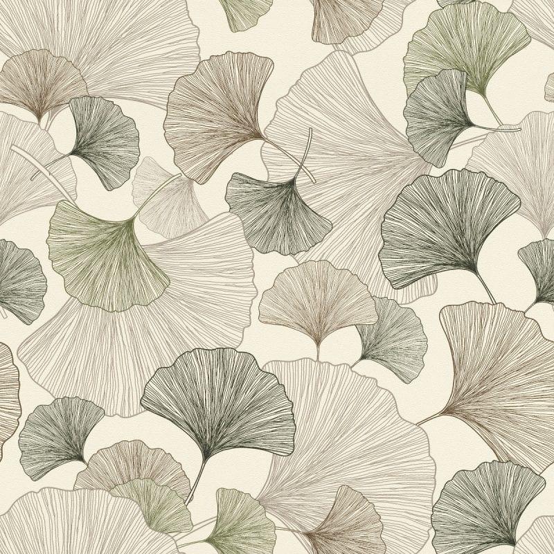 Papel mural hojas japonesas verdes YUCATAN 407648 Rasch