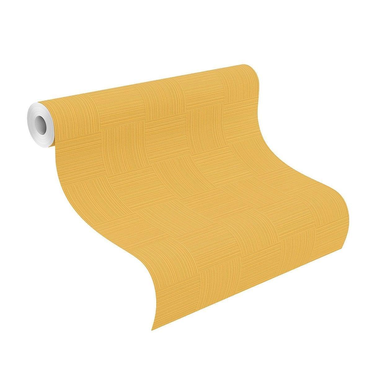 Papel mural amarillo mostaza YUCATAN 533491 Rasch