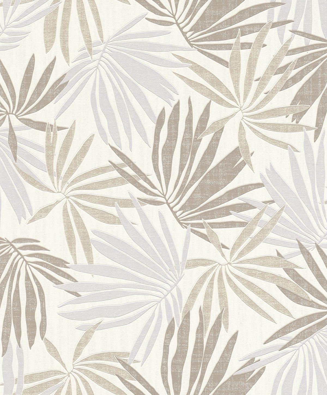 Papel mural hojas tropicales café y beige YUCATAN 535419 Rasch