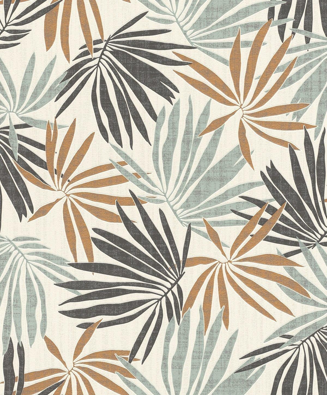 Papel mural hojas tropicales verde y cobre YUCATAN 535433 Rasch